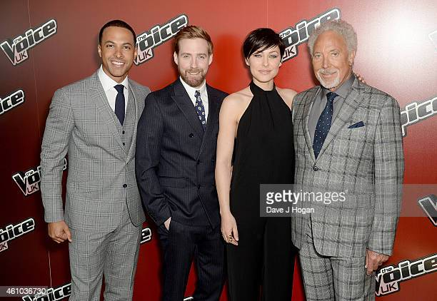 Marvin Humes Ricky Wilson Emma Willis and Sir Tom Jones attend the launch of 'The Voice UK' Series 4 at The Mondrian Hotel on January 5 2015 in...