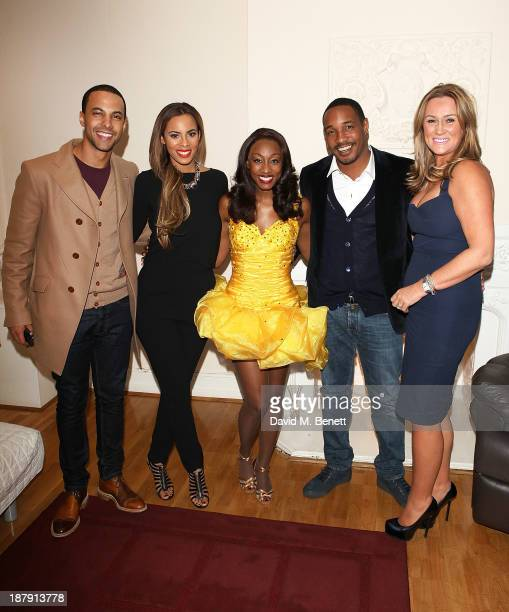 Marvin Humes Rochelle Humes Beverley Knight Paul Ince and Claire Ince backstage after the West End Production of 'The Bodyguard' at Adelphi Theatre...