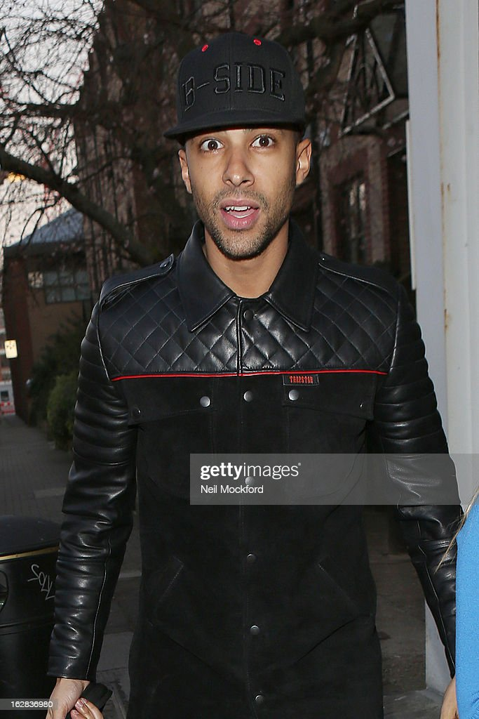 <a gi-track='captionPersonalityLinkClicked' href=/galleries/search?phrase=Marvin+Humes&family=editorial&specificpeople=2887070 ng-click='$event.stopPropagation()'>Marvin Humes</a> seen at Riverside Studios on February 27, 2013 in London, England.