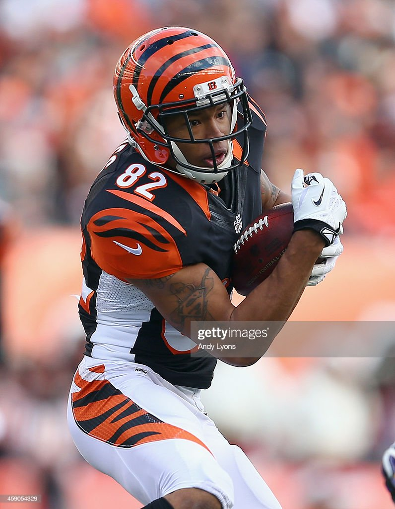 Marvin Jones #82 of the Cincinnati Bengals catches a pass during the NFL game against the Minnesota Vikings at Paul Brown Stadium on December 22, 2013 in Cincinnati, Ohio.