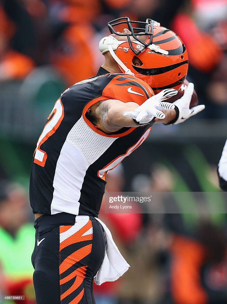 Marvin Jones #82 of the Cincinnati Bengals celebrates after catching a pass for a touchdown during the NFL game against the Baltimore Ravens at Paul Brown Stadium on December 29, 2013 in Cincinnati, Ohio.