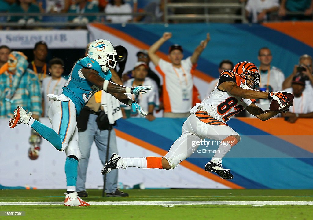 Marvin Jones #82 of the Cincinnati Bengals dives for the pylon during a game against the Miami Dolphins at Sun Life Stadium on October 31, 2013 in Miami Gardens, Florida.