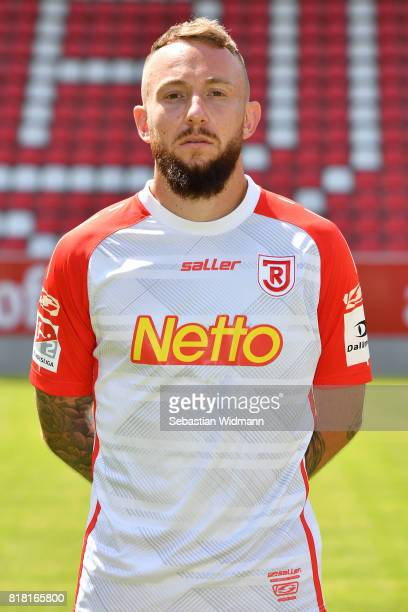 Marvin Knoll of Jahn Regensburg poses during the team presentation at Continental Arena on July 18 2017 in Regensburg Germany