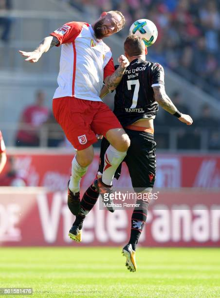 Marvin Knoll of SSV Jahn Regensburg and Marcel Hartel of 1 FC Union Berlin during the Second Bundesliga match between Jahn Regensburg and Union...