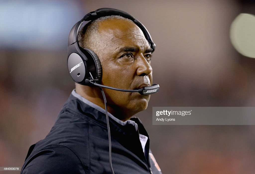 Marvin Lewis the head coach of the Cincinnati Bengals watches the action against the New York Giants during an preseason game at Paul Brown Stadium on August 14, 2015 in Cincinnati, Ohio.