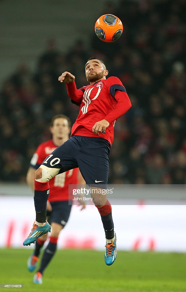 <a gi-track='captionPersonalityLinkClicked' href=/galleries/search?phrase=Marvin+Martin&family=editorial&specificpeople=5534442 ng-click='$event.stopPropagation()'>Marvin Martin</a> of Lille in action during the french Ligue 1 match between LOSC Lille and Stade de Reims at the Grand Stade Pierre Mauroy on January 12, 2014 in Lille, France.