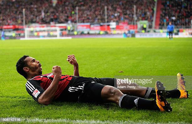Marvin Matip of Ingolstadt 04 celebrates scoring a goal during the Bundesliga match between FC Ingolstadt and FC Augsburg at Audi Sportpark on...