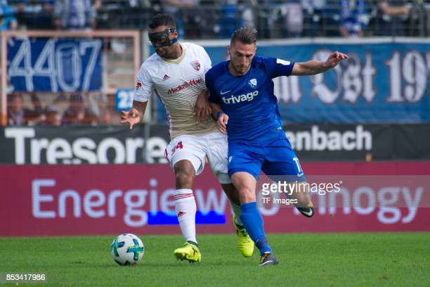 Marvin Matip of Ingolstadt and Dimitrios Diamantakos of Bochum battle for the ball during the Second Bundesliga match between VfL Bochum 1848 and FC...