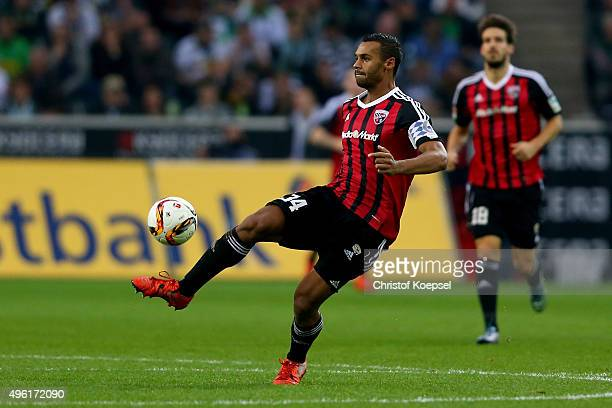 Marvin Matip of Ingolstadt runs with the ball during the Bundesliga match between Borussia Moenchengladbach and FC Ingolstadt at BorussiaPark on...