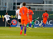 Marvin Mehlhem of Germany scores his team's third goal during the UEFA Under19 European Championship match between U19 Germany and U19 Netherlands at...