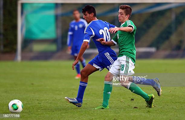 Marvin Melem of Germany and Ofek Maron of Israel battle for the ball during the U17 Juniors KOMM MIT tournament match between U17 Germany and U17...
