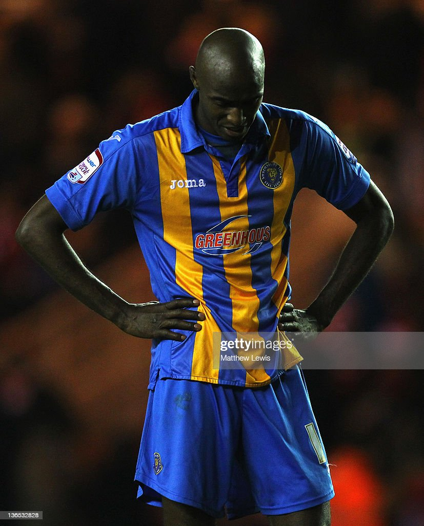 Marvin Morgan of Shrewsbury Town looks on, after his team lost to Middlesbrough during the FA Cup Third Round match between Middlesbrough and Shrewsbury Town at Riverside Stadium on January 7, 2012 in Middlesbrough, England.