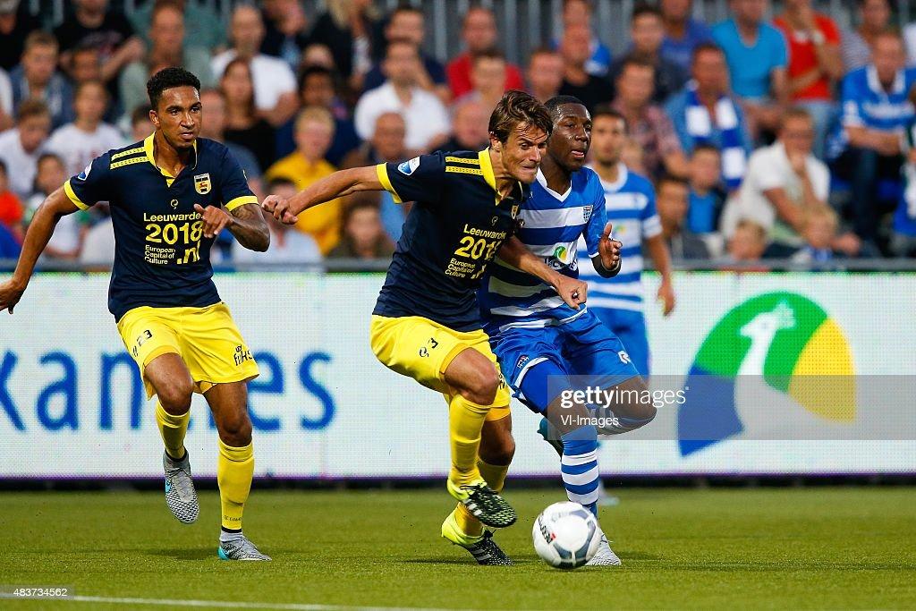 Marvin Peersman of SC Cambuur Etienne Reijnen of SC Cambuur Sheraldo Becker of PEC Zwolle during the Dutch Eredivisie match between PEC Zwolle and SC...