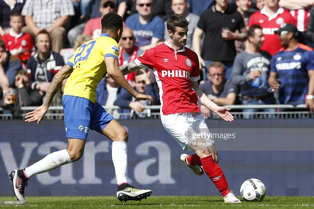 , Marvin Peersman of SC Cambuur, Gaston Pereiro of PSV during the Dutch Eredivisie match between PSV Eindhoven and SC Cambuur Leeuwarden at the Phillips stadium on May 01, 2016 in Eindhoven, The Netherlands