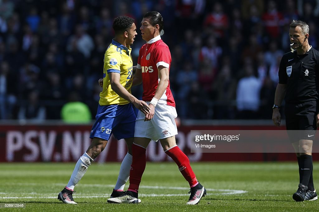 , Marvin Peersman of SC Cambuur, Hector Moreno of PSV during the Dutch Eredivisie match between PSV Eindhoven and SC Cambuur Leeuwarden at the Phillips stadium on May 01, 2016 in Eindhoven, The Netherlands