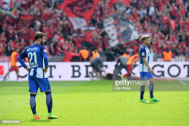 Marvin Plattenhardt and Alexander Esswein of Hertha BSC during the game between Hertha BSC and Bayer 04 Leverkusen on may 20 2017 in Berlin Germany
