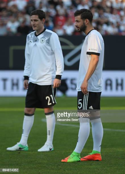 Marvin Plattenhardt and Sebastian Rudy of Germany are pictured during the warmup session ahead of the FIFA 2018 World Cup Qualifier between Germany...