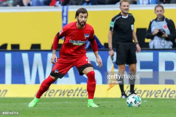 Marvin Plattenhardt of Berlin controls the ball during the Bundesliga match between TSG 1899 Hoffenheim and Hertha BSC at Wirsol RheinNeckarArena on...