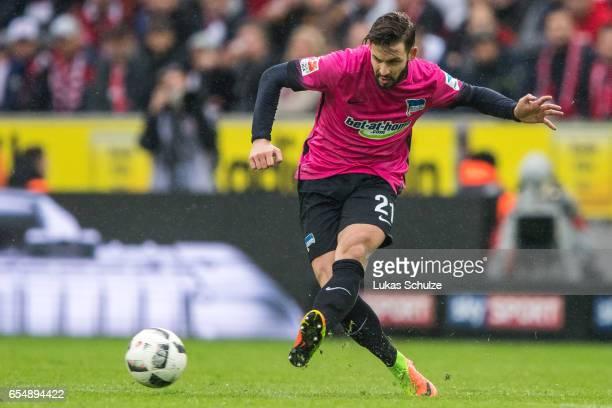 Marvin Plattenhardt of Berlin in action during the Bundesliga match between 1 FC Koeln and Hertha BSC at RheinEnergieStadion on March 18 2017 in...