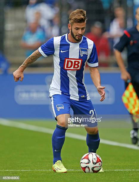 Marvin Plattenhardt of Berlin runs with the ball during the pre season friendly match between Hertha BSC and PSV Eindhoven at Stadion am Wurfplatz on...