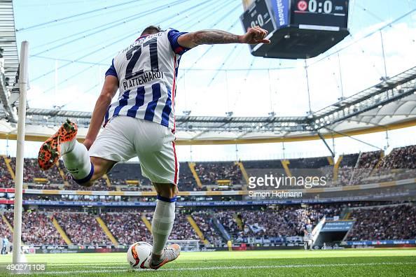 Marvin Plattenhardt of Berlin takes a corner kick during the Bundesliga match between Eintracht Frankfurt and Hertha BSC at CommerzbankArena on...
