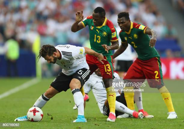 Marvin Plattenhardt of Germany and Christian Bassogog of Cameroon battle for possession during the FIFA Confederations Cup Russia 2017 Group B match...