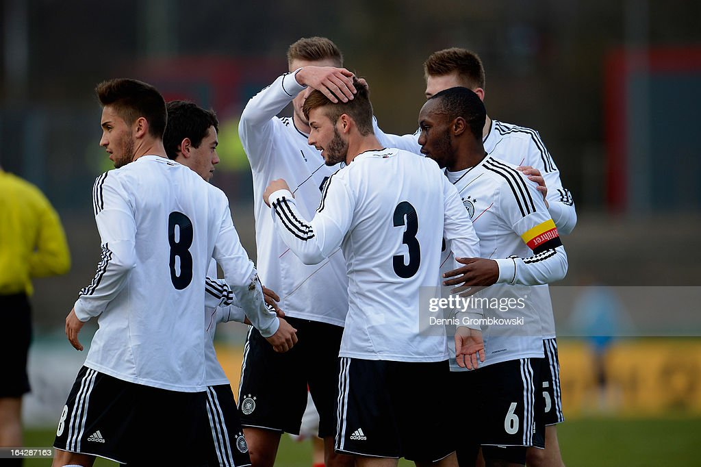 <a gi-track='captionPersonalityLinkClicked' href=/galleries/search?phrase=Marvin+Plattenhardt&family=editorial&specificpeople=5616506 ng-click='$event.stopPropagation()'>Marvin Plattenhardt</a> of Germany celebrates with teammates after scoring his team's first goal during the International Friendly match between U20 Germany and U20 Switzerland on March 22, 2013 in Cologne, Germany.