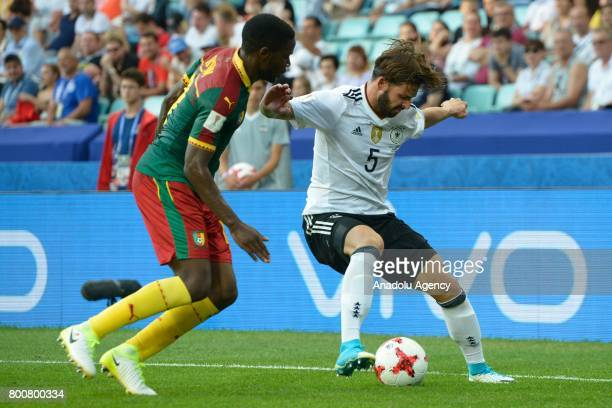 Marvin Plattenhardt of Germany in action against Arnaud Djoum of Cameroon during the FIFA Confederations Cup 2017 soccer match between Cameroon and...