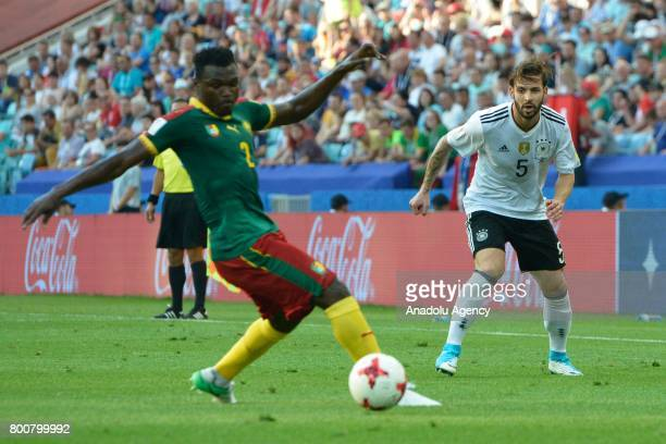 Marvin Plattenhardt of Germany in action against Ernest Mabouka of Cameroon during the FIFA Confederations Cup 2017 soccer match between Cameroon and...