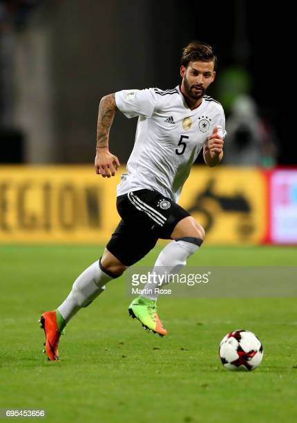 Marvin Plattenhardt of Germany runs with the ball during the FIFA 2018 World Cup Qualifier between Germany and San Marino at on June 10 2017 in...