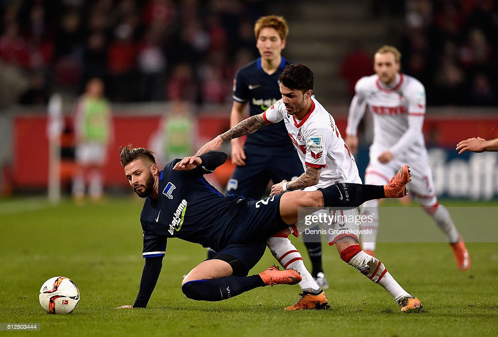 Marvin Plattenhardt of Hertha BSC and Leonardo Bittencourt of 1. FC Koeln battle for the ball during the Bundesliga match between 1. FC Koeln and Hertha BSC at RheinEnergieStadion on February 26, 2016 in Cologne, Germany.