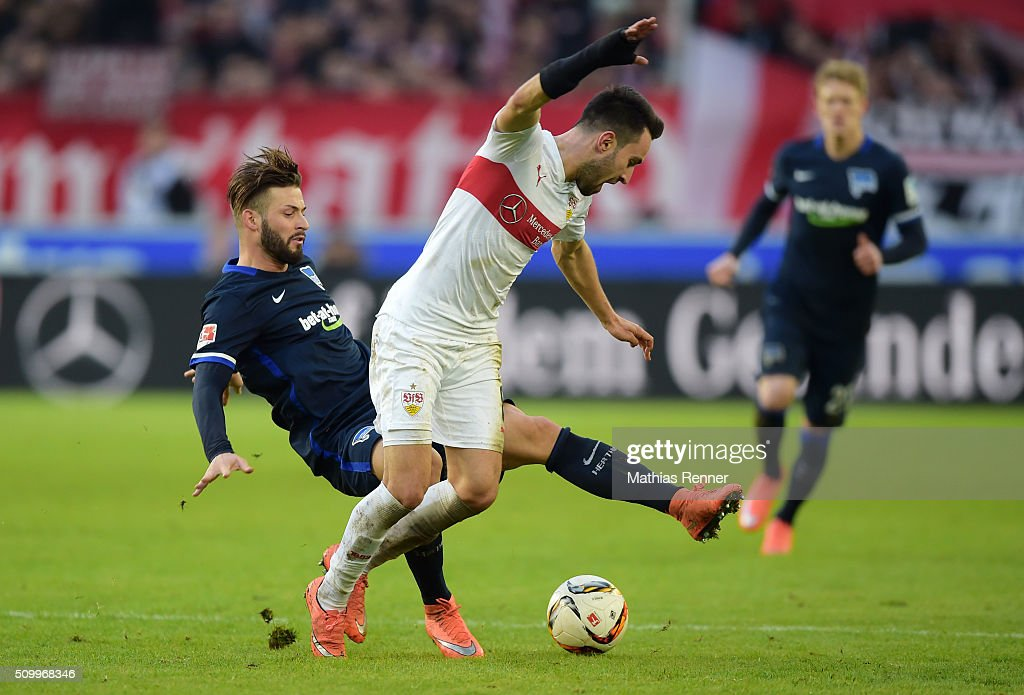<a gi-track='captionPersonalityLinkClicked' href=/galleries/search?phrase=Marvin+Plattenhardt&family=editorial&specificpeople=5616506 ng-click='$event.stopPropagation()'>Marvin Plattenhardt</a> of Hertha BSC and Lukas Rupp of VfB Stuttgart during the game between VfB Stuttgart and Hertha BSC on February 13, 2016 in Stuttgart, Germany.