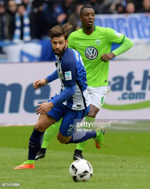 Marvin Plattenhardt of Hertha BSC and Riechedly Bazoer of VfL Wolfsburg during the game between Hertha BSC and dem VfL Wolfsburg on april 22 2017 in...