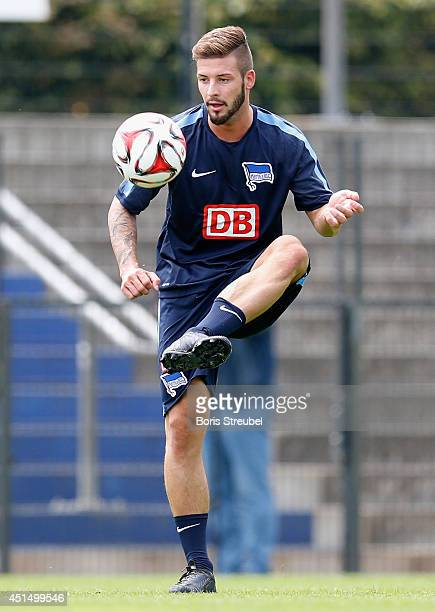 Marvin Plattenhardt of Hertha BSC controls the ball during the first Hertha BSC Berlin team training session at Stadion am Wurfplatz on June 30 2014...