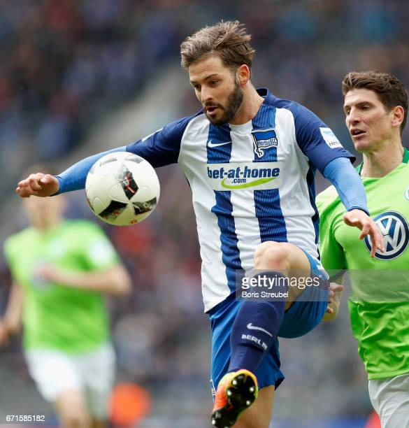Marvin Plattenhardt of Hertha BSC controls the ball during the Bundesliga match between Hertha BSC and VfL Wolfsburg at Olympiastadion on April 22...