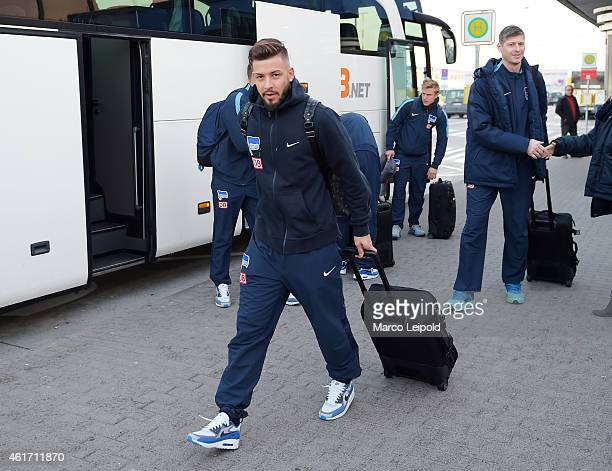 Marvin Plattenhardt of Hertha BSC departs for the team's Belek training camp on January 18 2015 in Berlin Germany
