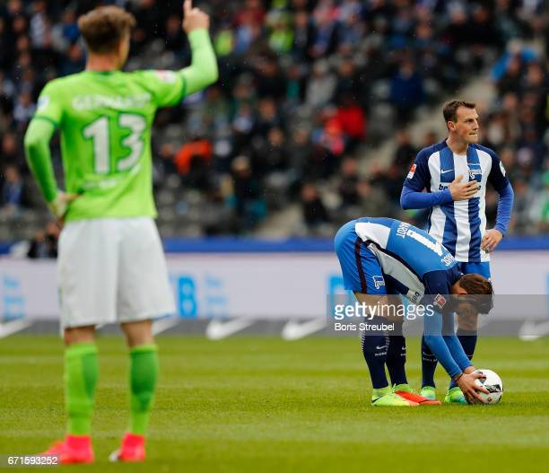 Marvin Plattenhardt of Hertha BSC pose the ball for a freekick during the Bundesliga match between Hertha BSC and VfL Wolfsburg at Olympiastadion on...