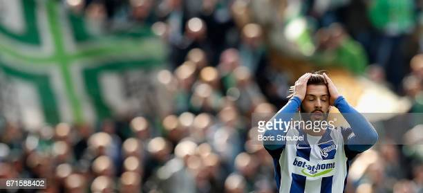 Marvin Plattenhardt of Hertha BSC reacts during the Bundesliga match between Hertha BSC and VfL Wolfsburg at Olympiastadion on April 22 2017 in...