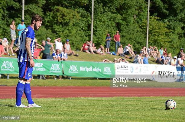 Marvin Plattenhardt of Hertha BSC shoots einen freekick during the game between dem 1 FC Luebars and Hertha BSC on July 1 2015 in Berlin Germany