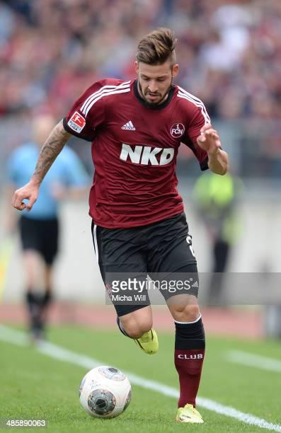 Marvin Plattenhardt of Nuernberg controls the ball during the Bundesliga match between 1 FC Nuernberg and Bayer Leverkusen at Grundig Stadium on...