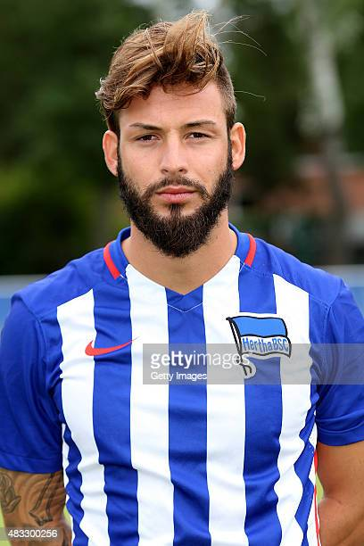 Marvin Plattenhardt poses during the Hertha BSC team presentation on July 10 2015 in Berlin Germany