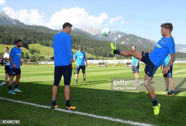 Marvin Plattenhardt Rune Almenning Jarstein Thomas Kraft Valentin Stocker and Alexander Esswein of Hertha BSC during the training camp on august 31...