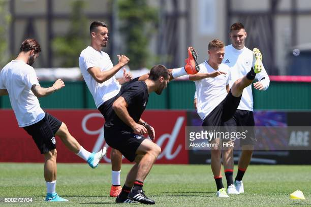 Marvin Plattenhardt Sandro Wagner Joshua Kimmich and Niklas Suele exercise during a Germany training session ahead of their FIFA Confederations Cup...