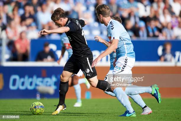 Marvin Pourié of Randers FC compete for the ball during the Danish Alka Superliga match between SonderjyskE and Randers FC at Sydbank Park on July 15...