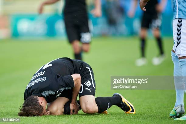 Marvin Pourié of Randers FC get an injury during the Danish Alka Superliga match between SonderjyskE and Randers FC at Sydbank Park on July 15 2017...