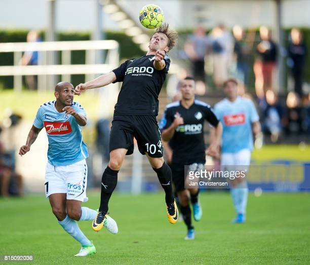 Marvin Pourié of Randers FC heading the ball during the Danish Alka Superliga match between SonderjyskE and Randers FC at Sydbank Park on July 15...