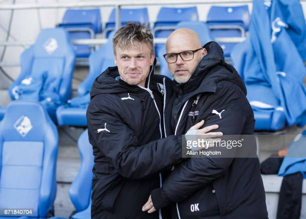 Marvin Pourie of Randers FC and Olafur Kristjansson head coach of Randers FC celebrates their victory after the Danish Alka Superliga match between...