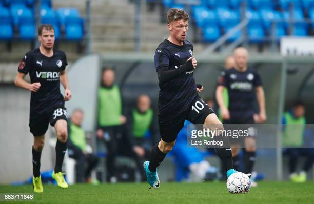 Marvin Pourie of Randers FC controls the ball during the Danish Alka Superliga match between Esbjerg fB and Randers FC at Blue Water Arena on April 2...
