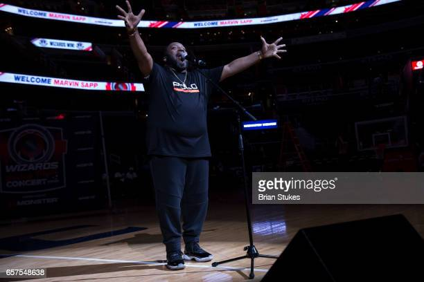 Marvin Sapp performs the Wizards Friday Night Concert at Verizon Center on March 24 2017 in Washington DC