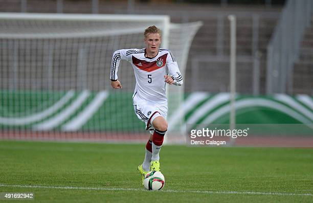 Marvin Schulz of Germany handles the ball during the U20 MercedesBenz Elite Cup match between Germany and Turkey at Donaustadion on October 7 2015 in...